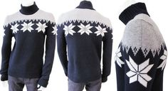 Dark blue and ice grey cashmere wool turtleneck knit, ribbed cuffs and bottom, Christmas' stars fantasy made on Italy in sale. Grab it now. #Mensfashion #Clothing #Shopping