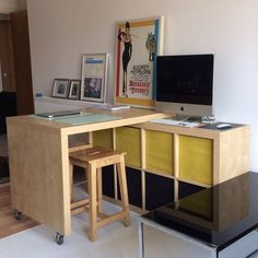 Materials: EXPEDIT – Desk combination BOSSE – Bar stool + 2 x 75 mm Castor Some felts pads (sheets and round) Description: When my partner moved in with me, he asked me why there is no table in my living room. I answered that the room is too small to accommodate a table. I didn't [&hellip