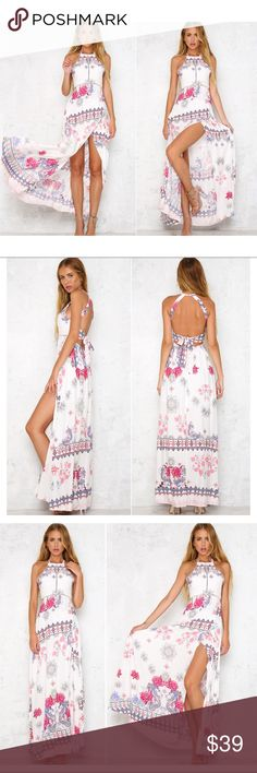 Floral Boho Halter Maxi Dress A sexy Hollow Out White Off the Shoulder Boho Floral Maxi Dress. Features a loose silhouette in bohemian print with a Halter neck. A perfect outfit for a summer beach party! Dress is has no lining and is semi translucent, may need a slip for extra coverage.  ▪️Material(s): Cotton, Polyester ▪️Size: Please see size chart for measurement details before ordering ▪️Condition: New Dresses Maxi