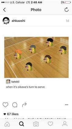 Haikyuu funny, when oikawa serves, spongebob caveman