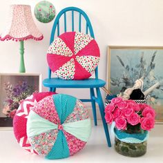 Bright and cheerful circular cushion projects in Mollie Makes 35 – pinwheel cushion