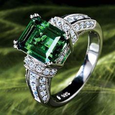 Scienza® lab-created Emerald & Diamondaura® platinum-finished verde ring #Stauer