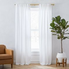 Belgian Linen Curtain, White, At West Elm - Solid Curtains - Window Treatments Belgian Flax Linen Curtain - White Curtains Living, Living Room Windows, Velvet Curtains, White Curtains, Closet Curtains, Curtains For Bedroom, West Elm Curtains, Ikea Curtains, Country Curtains