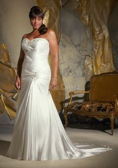 Graceful Dropped Waist Sweetheart Elastic Satin Sheath/ Column Plus Size Wedding Dress