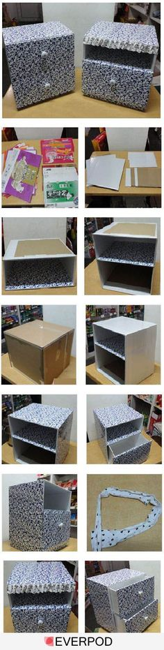 How to make a decorative storage box with drawers out of a cardboard box. http://96195.com/pic-766.html: