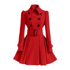 Solid Color Belted Turn-Down Collar Wool Dress Coat ($31) ❤ liked on Polyvore featuring outerwear and coats