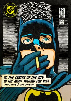 The Post-Punk / New Wave Super Friends by Butcher Billy by Butcher Billy, via Behance (Pictured: Ian Curtis of Joy Division as Batman) Billy Idol, Roy Lichtenstein Pop Art, Ian Curtis, Comic Book Covers, Comic Book Heroes, Comic Books, Comic Superheroes, Joy Division, Arte Pop