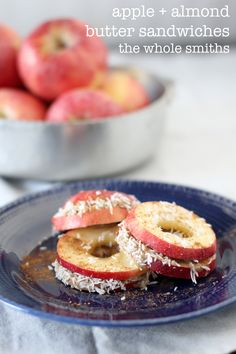 Apple + Almond Butter Sandwiches from the Whole Smiths. The PERFECT after-school snack that kids and grown-up alike will love. Gluten-free, paleo friendly and even Whole30 compliant! Gotta Pin!