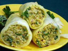 Bulgurral töltött paprika recept Tofu, Tacos, Mexican, Ethnic Recipes, Bulgur, Mexicans