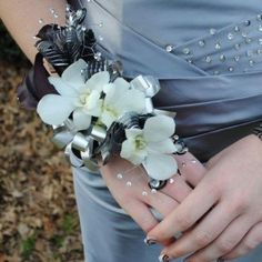prom corsages | Prom Corsage, but with blue and silver, rather than gray