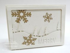 Merry Photo Card Frame Die-namics; Tree Lines Die-namics; Let It Snowflake Die-namics - Amy Rohl