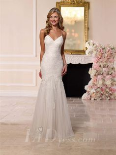 Spaghettis Straps Sweetheart Fit and Flare Wedding Dress