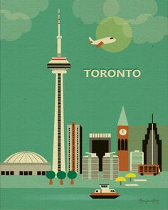Transportation Collage of Toronto, Canada Skyline - Canadian  Art Poster Print. $19.99, via Etsy.