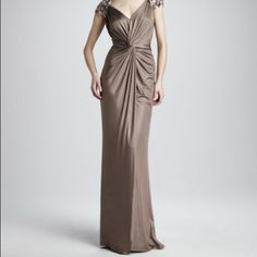 Tadashi Shoji Evening Gown Stunning mineral colored evening gown by Tadashi Shoji. Size small. Jersey stretch fabric with beaded cap sleeves and back shoulder. Floor length and has a small train. Perfect for mother of the bride or a formal event. Only worn a couple of hours and in great condition. Tadashi Shoji Dresses