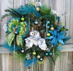 Teal and Green Winter Owl Family Christmas Wreath, made with owls bought at http://www.trendytree.com https://www.etsy.com/listing/165134291/winter-owl-family-christmas-wreath