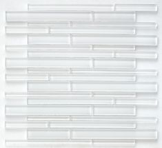 Glass Mosaic Tile Simplicity Clear White Random  for kitchen backsplash, bathoom, and shower. Order a free sample swatch!