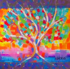 Summertime Fun Tree by Joan Skogsberg Sanders. Acrylic painting depicting tree as metaphor for summer fun and happiness. Temporary protective frame of 1