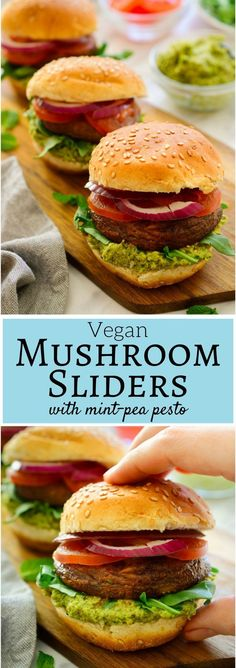 These #vegan #sliders are easy to make and super tasty with juicy seasoned mushrooms and a delicious mint and pea #pesto . These little veggie burgers are great for parties, summer barbecues, or a quick weeknight dinner!
