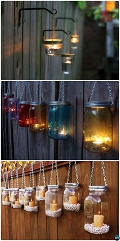 DIY Hanging Mason Jar Lights Garden Fence Decor Instructions-20 Fence Makeover Ideas