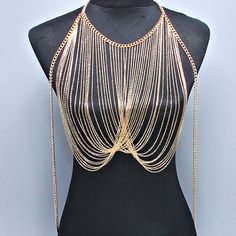 New Women Gold Shine Body Chain Necklace, Harness Necklace, Beach Party by ALLABOUTMYJEWELRY on Etsy