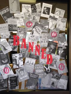 Banned Books Week Display shared by Katherine Higginbottom. Cedar Ridge High School.  Library Media Specialist AR