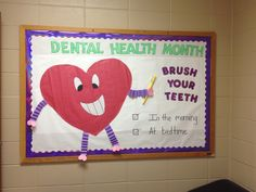 Maybe use tooth shape instead of heart day decorations for office bulletin boards Health Bulletin Boards, Office Bulletin Boards, Nurse Bulletin Board, February Bulletin Boards, Elementary Bulletin Boards, Nurse Office Decor, School Nurse Office, Nurse Decor, School Nursing