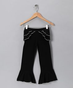 Take a look at this Black & White Ruffle Pants - Toddler & Girls by Wonder Me on #zulily today!
