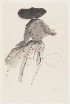 Design for a dress with bolero in the New Look style, black chalk and watercolour, possibly for Dior by BLOSSAC, Bernard, ca.1947-1950.