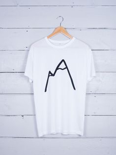 Simple Mountain graphic t-shirt ethically made, hand screen printed in Sheffield, UK