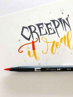 Letter A Halloween Pun With Tombow! #halloween #tombowusa Halloween Puns, Tombow Usa, Modern Calligraphy, Hand Lettering, Handwriting, Calligraphy, Hand Drawn Type, Hand Type