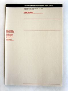 """Oppositions Stationary 8 ½"""" x 11 ¾"""" (closed) Box Massimo and Lella Vignelli papers Vignelli Center for Design Studies Rochester, NY Peter Eisenman, Typo Poster, Massimo Vignelli, Grid, Editorial, My Design, Graphic Design, Typography Layout, Cover Pages"""