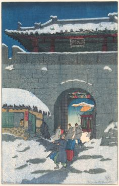 "Elizabeth Keith, ""Returning from the Funeral, Korea"", 1922. Color woodcut. Visit www.catherineburns.com"
