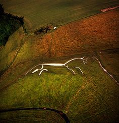 England. the Uffington Horse, which is dated to the bronze age or early iron age, ca over 3,000 years old.