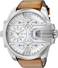 Diesel Mens Uber Chief Quartz Stainless Steel and Leather Casual Watch Color:Brown (Model: DZ7374)