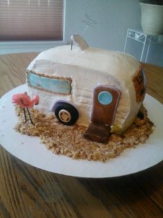 Trailer trash cake, carrot cake with cream cheese frosting and fondant decorations...yummy