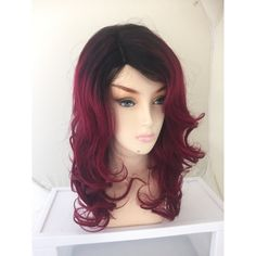Summer Dark Roots Ombre Red Remy Human Hair 24 Long Layered Wig Shadow... ($298) ❤ liked on Polyvore featuring beauty products, haircare, hair styling tools, bath & beauty, grey, hair care, styling iron, flat iron, straightening iron and straight iron