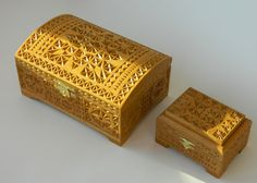 Carved boxes, chip carving.