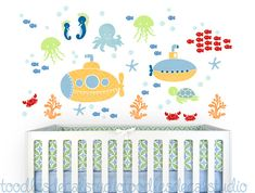 Yellow Submarine Wall Decal, Reusable Decals, Under the Sea Wall Decal, Ocean Fabric Stickers, Bathr