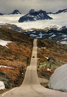 Sognefjell Road at Sognefjell mountain in Norway is the highest mountain pass in Norway with its approximately 1,434 meters above sea level. This important gateway to Jotunheimen National Park has a long tradition of Transport. http://www.vegvesen.no/Turistveg/sognefjellsvegen