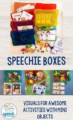 I love these Speechie Boxes. Great for storing my mini objects for therapy. These visuals and cards are the perfect accompaniment.