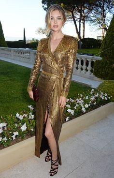 Megan Williams is #soDVF in a glittering embellished wrap dress at the amfAR Cinema Against AIDS Gala.