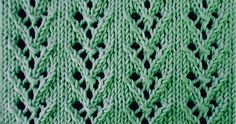 Knitted in a multiple of 7 sts and 6-row repeat.  Row 1 (Right side): * K4, yo, k3; repeat * to end.  Row 2 and wrong side rows: Purl.  R...
