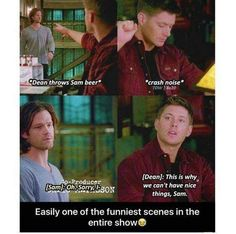 You are watching the movie Supernatural on Putlocker HD. When they were boys, Sam and Dean Winchester lost their mother to a mysterious and demonic supernatural force. Supernatural Tv Show, Funny Scenes, Film Serie, Destiel, Superwholock, Favorite Tv Shows, Nerdy, Laughter, Fangirl