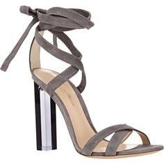Gianvito Rossi Lucite® Heel Ankle-Tie Sandals (4.020 BRL) ❤ liked on Polyvore featuring shoes, sandals, ankle wrap sandals, open toe high heel sandals, ankle strap shoes, gray sandals and lucite shoes