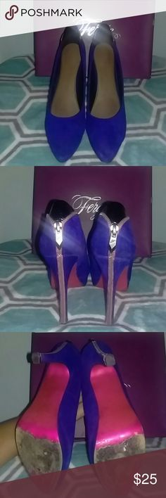 Shoes Royal blue suede shoes with pink zipper alongside back. With a touch of black. Fergie Shoes Heels
