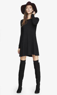 LONG SLEEVE ZIP BACK TRAPEZE DRESS - BLACK | Express