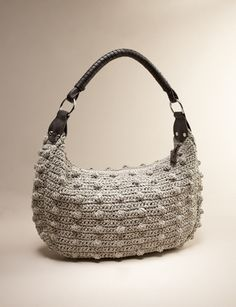 Wrapped Handle Crochet Hobo
