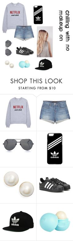 """""""chilling with no makeup on"""" by gabby6505 ❤ liked on Polyvore featuring J Brand, Linda Farrow, adidas, Kate Spade, adidas Originals and River Island"""