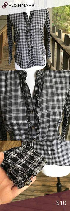J.Crew button down with ruffles, size 2P EUC Really nice plaid button down from J.Crew (not factory). Excellent used condition - no stains, tears or missing buttons. Size 2 petite. Black and white plaid with very subtle threads of silver and pretty little ruffles going down the front and around the collar. Semi-sheer when in sunlight - just a lightweight cotton material. Great top, perfect for layering under a little sweater or on it's own with cords/jeans and booties...so cute! Offers…