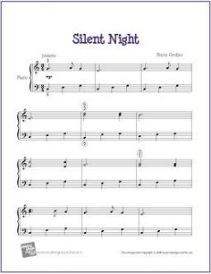 Silent Night (Christmas) | Free Sheet Music for Easy Piano - http://makingmusicfun.net/htm/f_printit_free_printable_sheet_music/silent-night-piano-solo.htm: